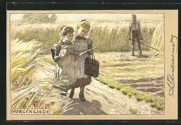 Künstler-Lithographie Paul Hey: Morgenlied, Mädchen auf dem Weg zur Schule