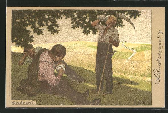 Künstler-Lithographie Paul Hey: Erntezeit, Bauern machen Mittagspause
