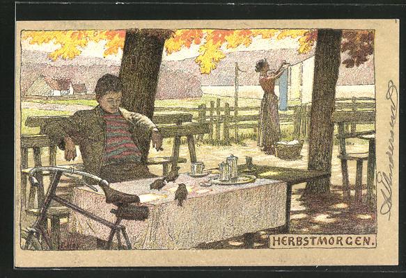 Künstler-Lithographie Paul Hey: Herbstmorgen, Mann beobachtet die Spatzen auf dem Tisch