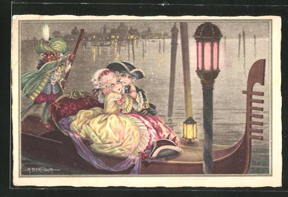 Künstler-AK A. Bertiglia: Paar im Rokokokostüm bei der Gondelfahrt in Venedig