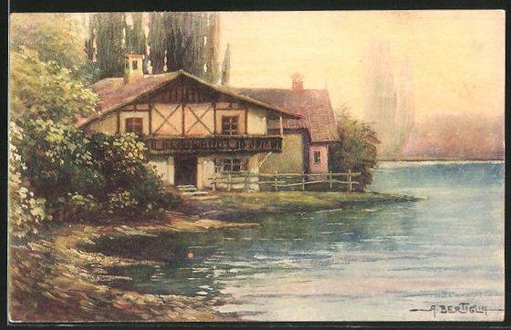 Künstler-AK A. Bertiglia: Haus am Ufer