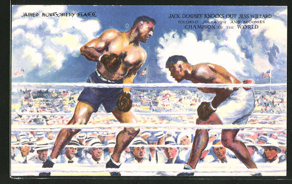 AK Boxer Jack Dempsey kämpft gegen Jess Willard, Toledo, 1919