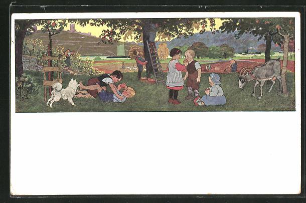 Künstler-AK Gertrud Caspari: Kinder spielen im Garten