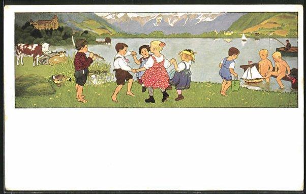 Künstler-AK Gertrud Caspari: Kinder spielen auf der Wiese und tanzen Ringelreihen