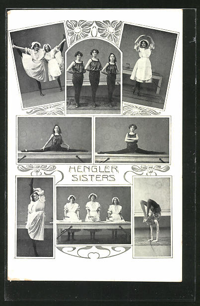AK Akrobaten Hengler Sisters in Figuren