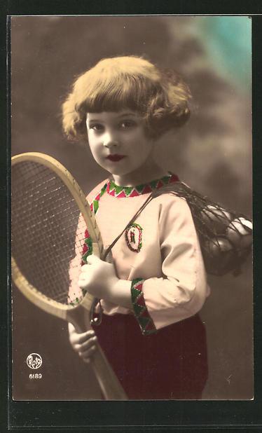 AK Mädchen mit Tennisschläger und Bällen