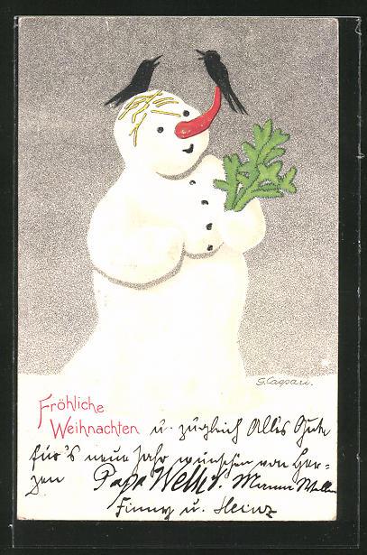 Künstler-AK Gertrud Caspari: Raben sitzen auf einem Schneemann mit Tannenzweigen