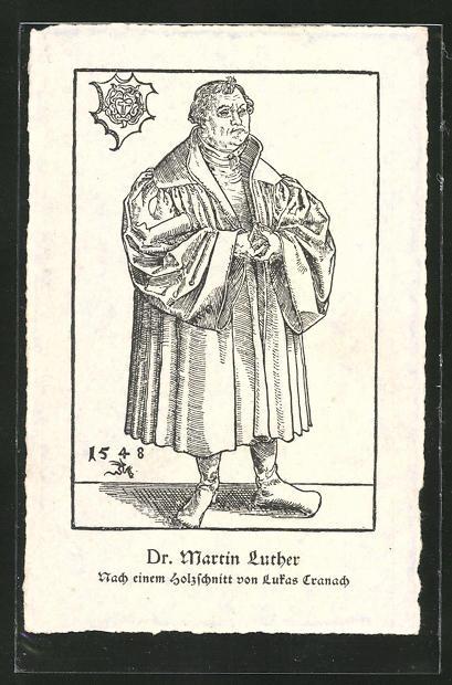 Künstler-AK Dr. Martin Luther, nach Holzschnitt von Lukas Cranach