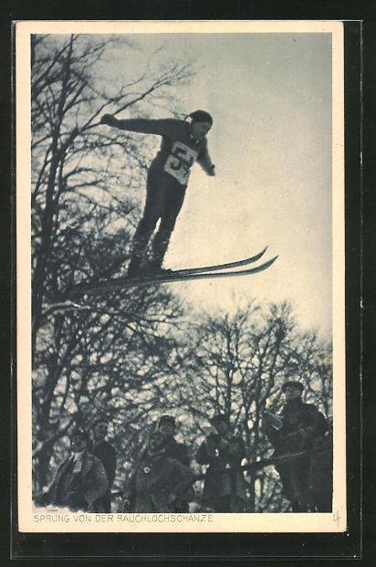 AK Winterdag, Skispringer springt von der Rauchlochschanze