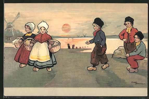 Künstler-AK Ethel Parkinson: niederländische Kinder in Tracht