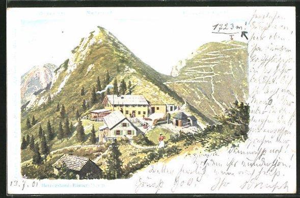 Künstler-Lithographie Rudolf Reschreiter: Herzogstand-Häuser, Heimgarten, Martinskopf und Herzogstand-Gipfel