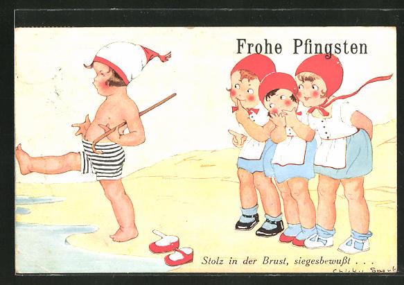 Künstler-AK Chicky Spark: Frohe Pfingsten, Stolz in der Brust, siegesbewusst...