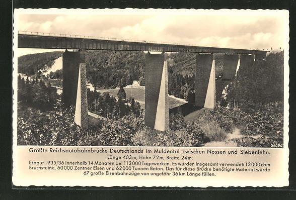 AK Reichsautobahnbrücke im Muldental
