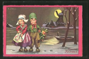 Künstler-AK sign. R. Sgrilli: Bonne Année, Kleines Holländerpaar im Mondschein