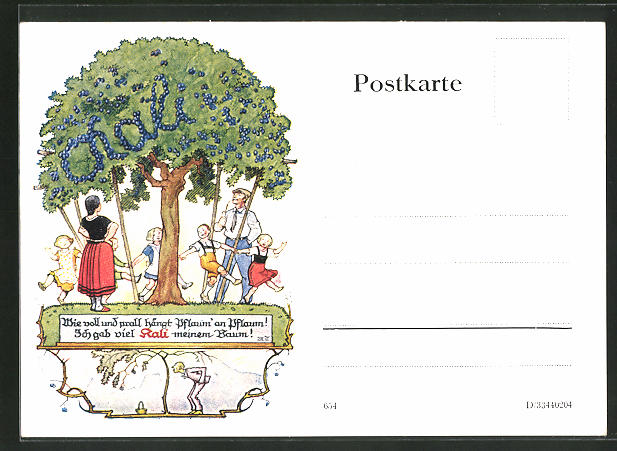 AK Reklame für Kalidünger, Baum mit reifen Pflaumen