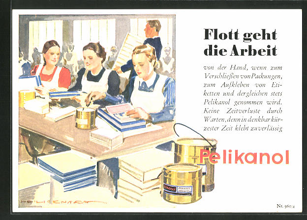 AK Reklame für Pelikanol Klebstoff