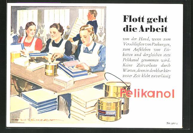 AK Reklame für Pelikanol Kleister