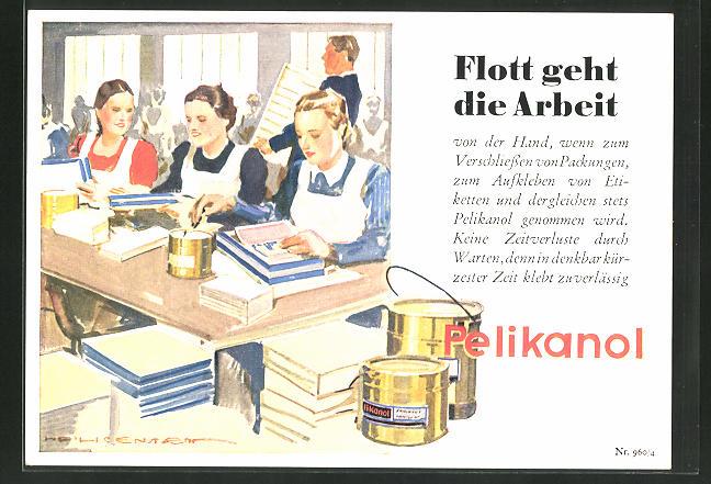 AK Reklame für Pelikanol Leim