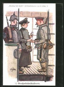 Künstler-AK Heinrich Zille: Strassenbahnschaffnerin kontrolliert Soldaten