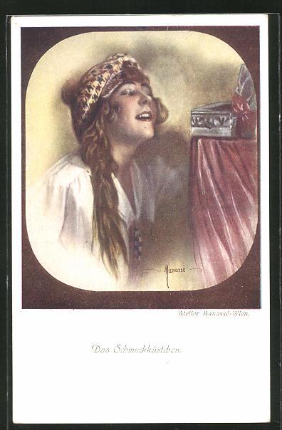 Künstler-AK Manasse: Junge Frau mit Schmuckkästchen