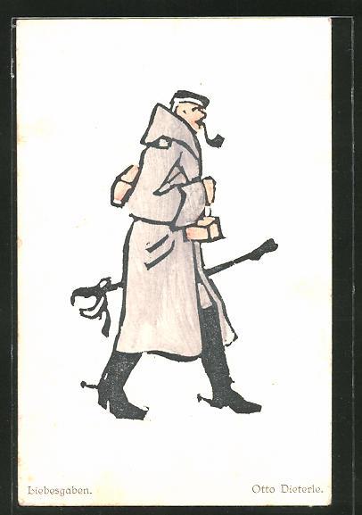 Künstler-AK sign. Otto Dieterle: Soldat in Uniform mit Liebesgaben