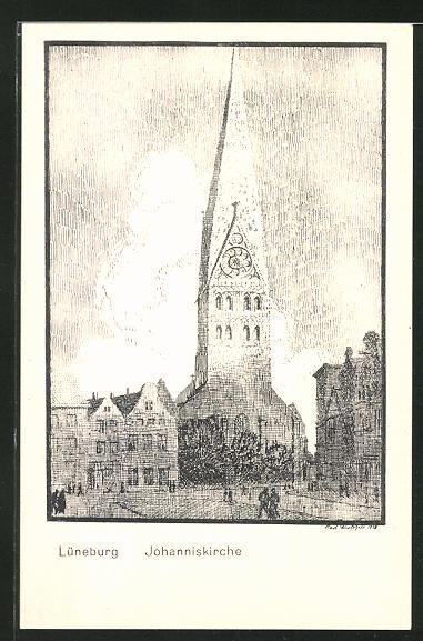 Künstler-AK K. Blossfeld: Lüneburg, Ansicht der Johanniskirche