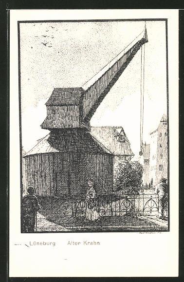 Künstler-AK K. Blossfeld: Lüneburg, Alter Krahn