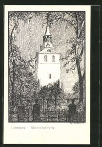 Künstler-AK K. Blossfeld: Lüneburg, Blick zur Michaeliskirche