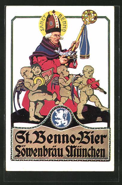 Künstler-AK Otto Obermeier: Brauerei-Werbung, St. Benno-Bier, Löwenbräu München