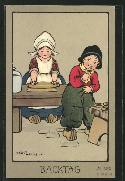 Künstler-AK Ethel Parkinson: Kleine Holländer haben Backtag