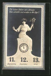 AK Kurioses Datum 11.12.1913, Frau mit Blumen auf einer Uhr