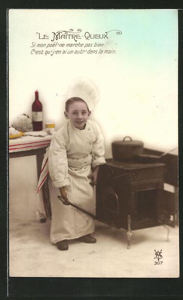 AK Le Maitre-Queux, Kleiner Koch am Ofen
