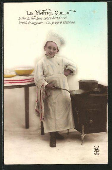 AK Le Maitre-Queux, Kleiner Koch mit Bratpfanne