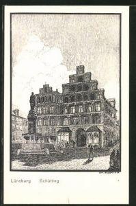 Künstler-AK K. Blossfeld: Lüneburg, Partie am Schütting