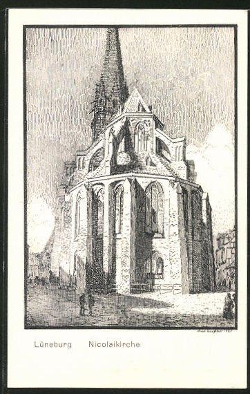 Künstler-AK K. Blossfeld: Lüneburg, Ansicht der Nicolaikirche
