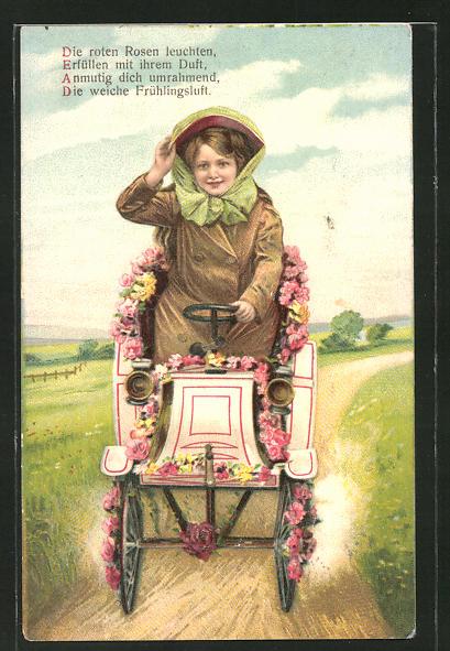 Präge-AK junge Frau sitzt in einem Auto das mit Rosen geschmückt ist