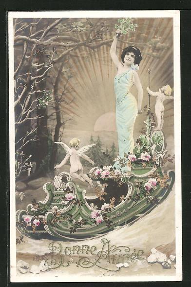AK Frau mit kleinen, nackten Engeln in einem Boot das mit Rosen geschmückt ist