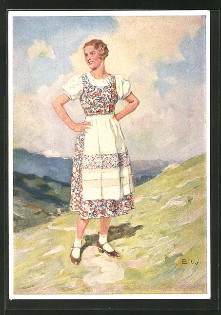 Künstler-AK Brynolf Wennerberg: Das Indanthrener, Dame im Kleid mit Schürze, Reklame für Indanthrenfarbige Stoffe