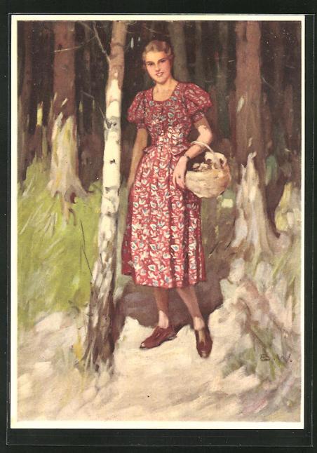 Künstler-AK Brynolf Wennerberg: Reklame für Indanthren, Frau im roten Kleid beim Pilze sammeln im Wald