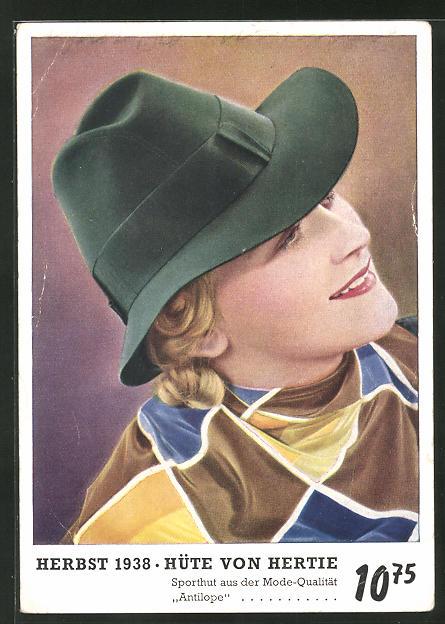 AK Hertie, Reklame für Hüte im Herbst 1938, Dame mit Hut