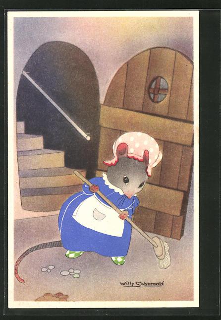 Künstler-AK Willy Schermele: vermenschlichte Ratte beim Hausputz