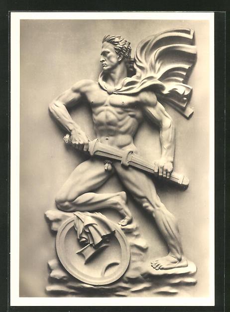 Künstler-AK Arno Breker: Der Wächter, nackter Krieger mit Schwert