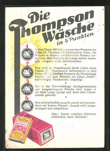 AK Thompson Wäsche, Reklame für Seifix und Seifen-Pulver, Waschanleitung in 4 Punkten