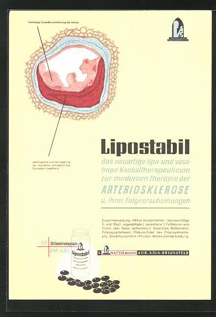 AK Medikament Lipostabil gegen Arteriosklerose, Querschnitt einer Ader mit Ablagerungen