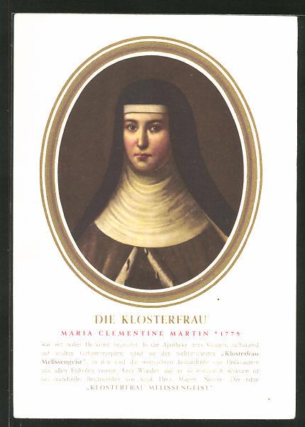 AK Medikament Klosterfrau Aktiv-Puder, Portrait Maria Clementine Martin im Passepartout-Rahmen