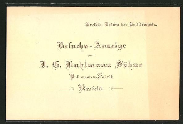 AK Krefeld, Postamenten-Fabrik Buhlmann Söhne, Besuchs-Anzeige eines Vertreters