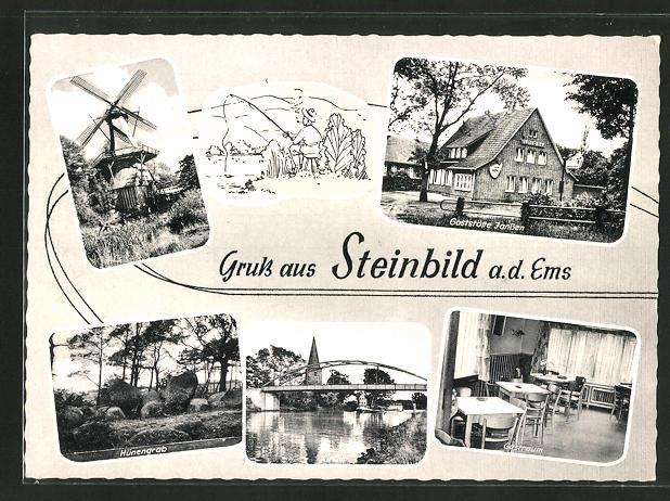 AK Steinbild / Ems, Gasthaus Janssen, Hünengrab, Kirche