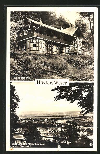 AK Höxter / Weser, Gasthaus Wilhelmshöhe, Blick in das Wesertal