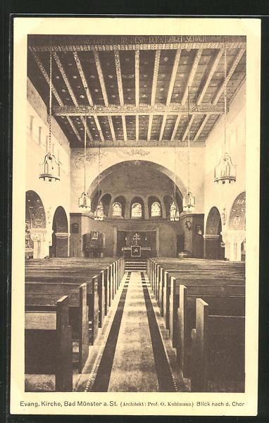 AK Bad Münster / St., Innenansicht der evang. Kirche