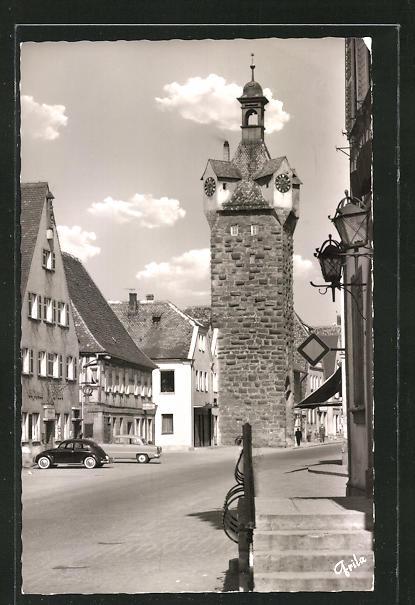 AK Herzogenaurach / Ofr., Strassenpartie am Türmersturm